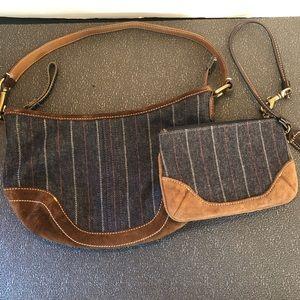 Coach 4285 Suede Stripe Denim Bag & Wristlet